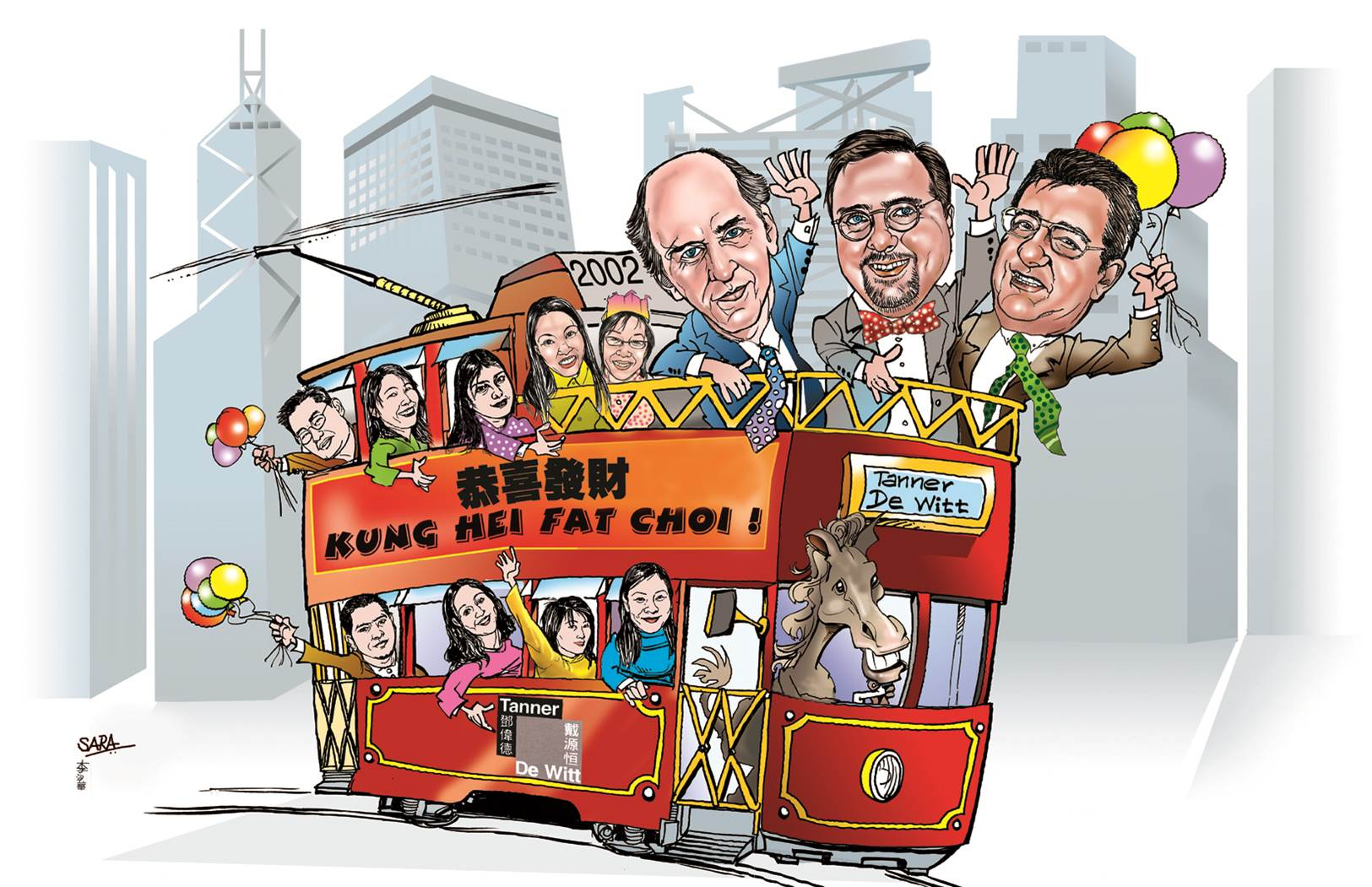 Cartoon of TDW Partners in Tram
