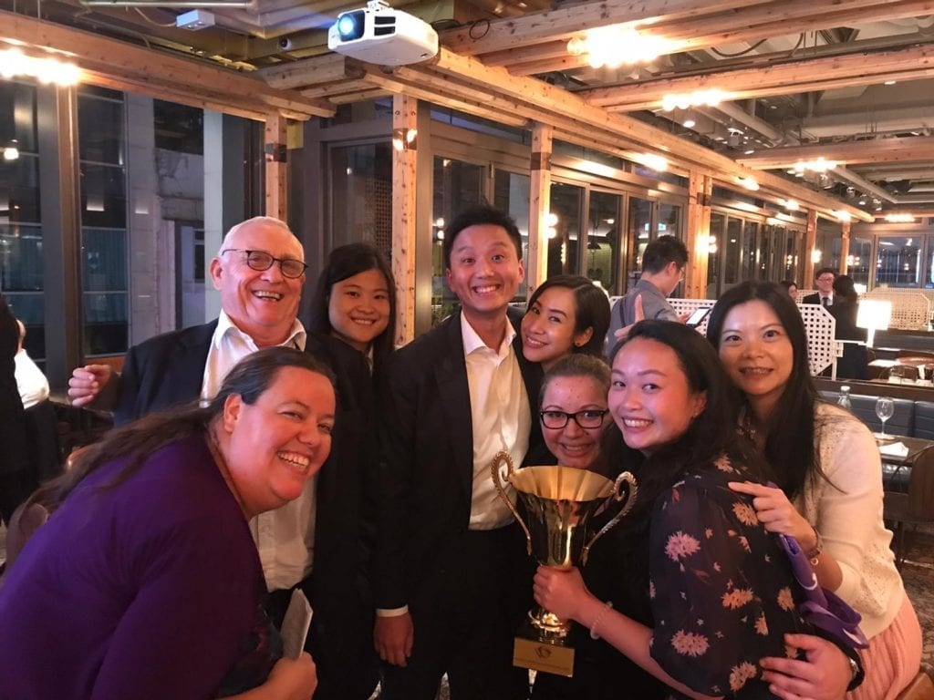 (L to R) Quizmaster Laura Dodwell-Groves, Anthony Hill, Shirley Gu, Tim Au, Veronica Chan, Elizabeth Seymour-Jones, Natalie Lam and friend of the firm Galaxy Chan